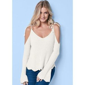 NWOT Venus Sexy Cold Shoulder Scallop Bell Sweater
